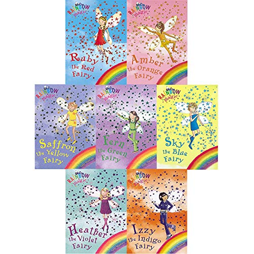 Rainbow Magic Colour Fairies Collection - 7 Books RRP £34.93 (1: Ruby the Red Fairy; 2: Amber the Orange Fairy; 3: Saffron the Yellow Fairy; 4: Fern the Green Fairy; 5: Sky the Blue Fairy; 6: Izzy the Indigo Fairy; 7: Heather the Violet Fairy)