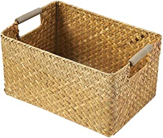Chengstore Binaural Sundries Storage Box Hand Woven Rattan Basket for Home Clothes for Clothes, Blankets, Closets, Bedrooms