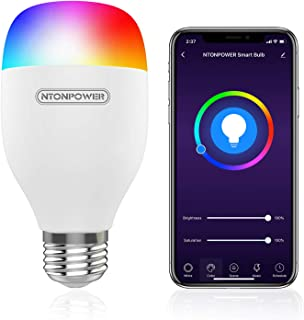 NTONPOWER Smart Light Bulb - E26 RGBCW WiFi Dimmable Multicolor LED Light Compatible with Siri, Alexa, Google Home and IFTTT (No Hub Required) 9W, 60W Equivalent, 800LM, 2800-6500k Color Changing Bulb