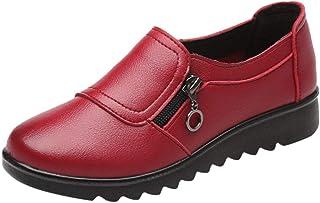 Chaussures CompenséE Femme Ete Confort Mocassins Loafers Pas Cher A La Mode Tendance Soldes Chaussures en Cuir De Travail