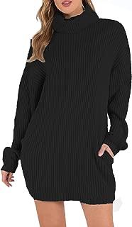 Fascivonne Womens Turtleneck Ribbed Knit Long Sleeve Loose Sweater Dress