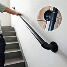 Handrail -Complete Kit. Industrial Style Wrought Iron Black Pipe Stair Handrail,Household Indoor and Outdoor Old Non-Slip Stair Handrail Safety Rails,Customizable Size (Size : 6ft)