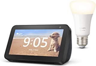 Echo Show 5, Nero + Philips Hue White Lampadina Connessa (E27), compatibile con Alexa
