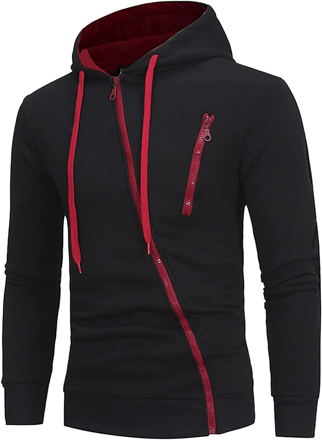XXBR Oblique Zipper Hoodies for Mens, Fall Color Block Outdoor Drawstring Hooded Sweatshirts Muscles Workout Pullover