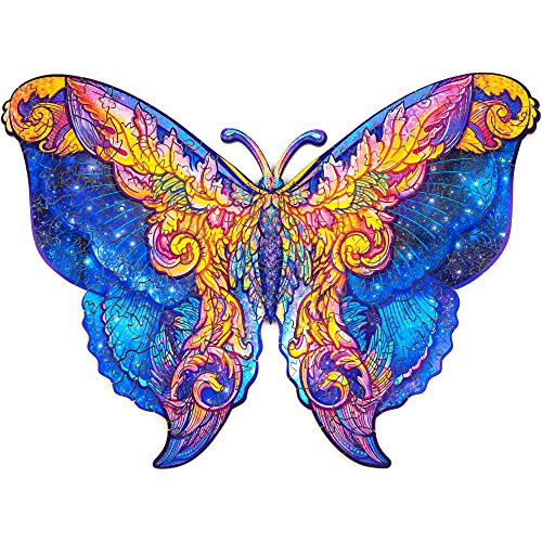 Unidragon Wooden Puzzle Jigsaw, Best Gift for Adults and Kids, Unique Shape Jigsaw Pieces Intergalaxy Butterfly, 9 x 6.7 inches, 107 Pieces, Small