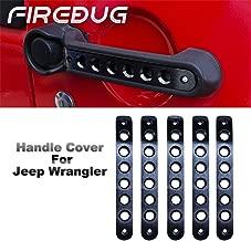 Jeep Wrangler Door Handle Inserts 5 Pcs/Sets Brushed Aluminum - Black, Jeep Door Grab Handle Inserts Cover Trim for 2007-2018 Jeep Wrangler JK & Unlimited 4 Door, Jeep Wrangler Accessories Door Insers