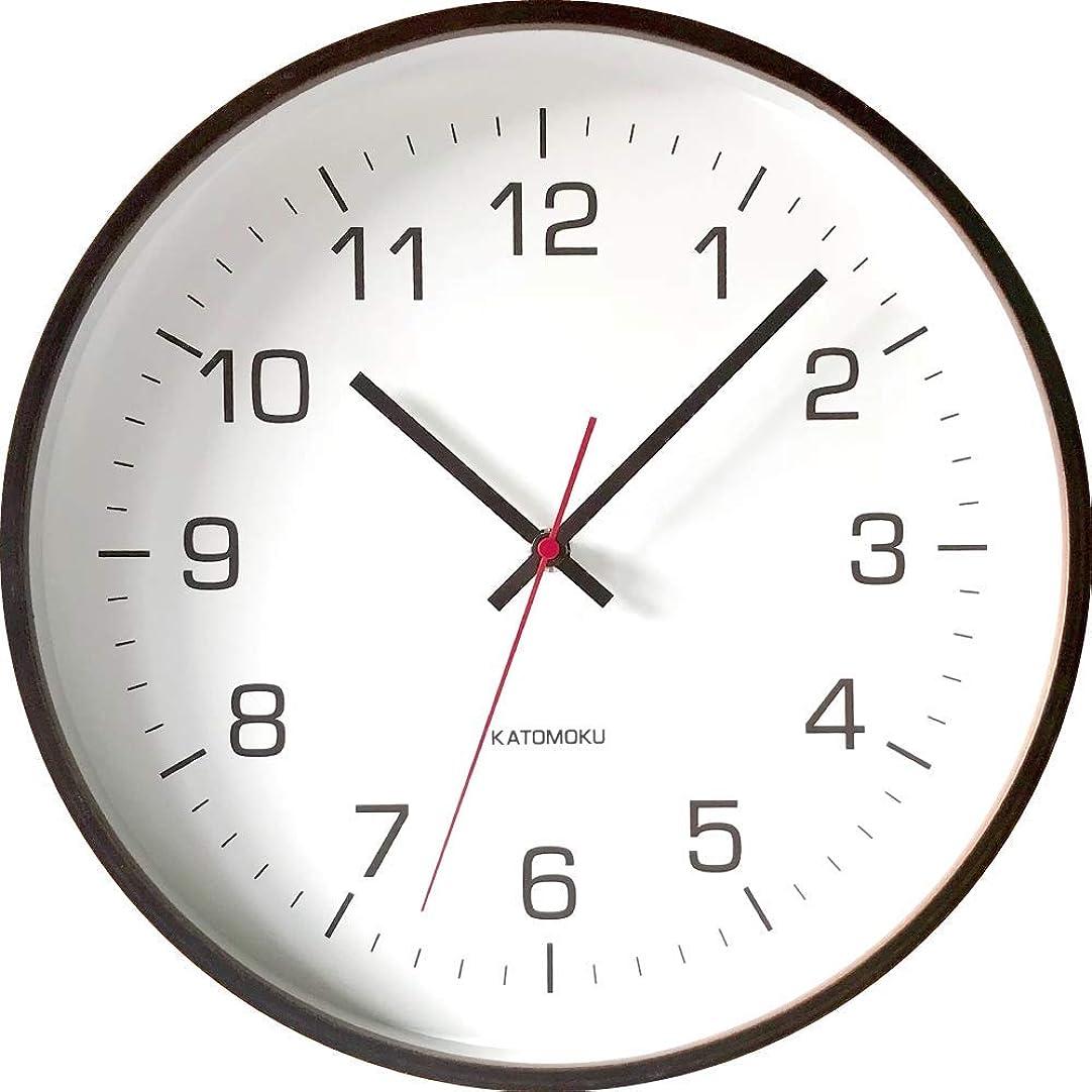お肉燃やすエスニックKATOMOKU plywood wall clock 4 km-61BRC ブラウン 電波時計 連続秒針 φ304mm