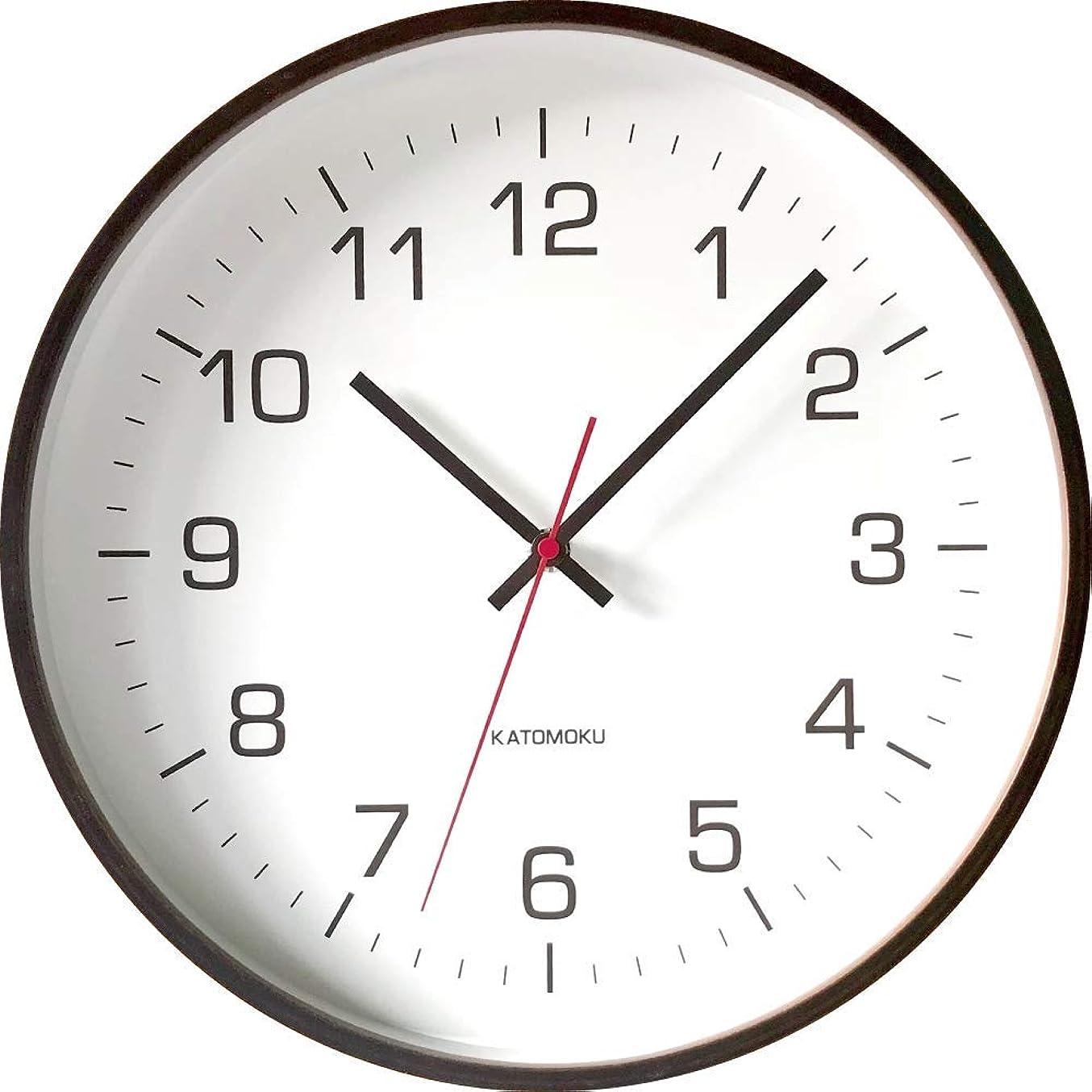 施設イデオロギーKATOMOKU plywood wall clock 4 km-61BRC ブラウン 電波時計 連続秒針 φ304mm