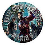 OBLEA de Papel de azúcar Personalizada, 19 cm, diseño de Marvel Los Vengadores...