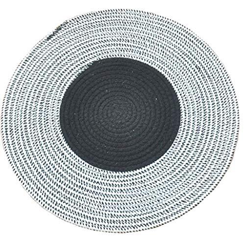 Woonkamertapijt, rond, puur katoen, handgeweven, tafelkleed, eenvoudig ophangen, mand, tafelkleed, Couture zwart en wit (180 cm) Diameter 80CM