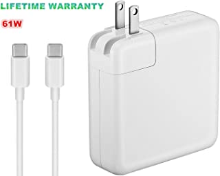 (Original Quality) 61W USB-C Power Adapter Replacement USB C AC Supply Charger Compatible with MacBook Pro Charger 13 Inch Laptop (USB-C Cable Included)