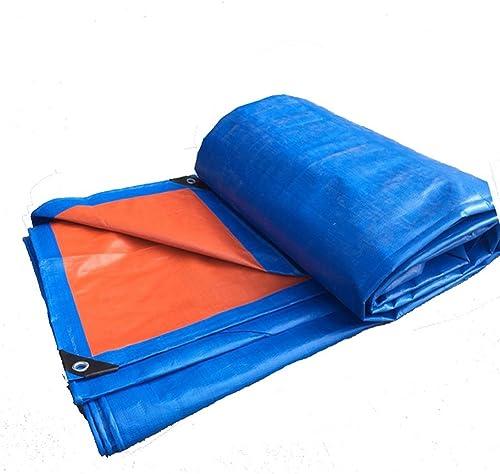 AJZGF Tissu imperméable à l'eau imperméable Bache, extérieur imperméable à l'eau Double-Face étanche à la poussière Cargo Tissu Isolation Thermique, Bleu + Orange
