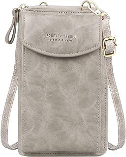 Jangostor kleine Crossbody Tasche Handy - Tasche Brieftasche mit Credit Card Slots für Frauen (A-Grau-2)
