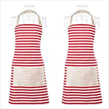 Xornis 2 Pack Women Apron with 2 Pockets Classic Horizontal Striped Ladies Cute Aprons Chef Kitchen Holiday Artist Adjustable Bib Apron, Polyester-Cotton Canvas Fabric (Red)