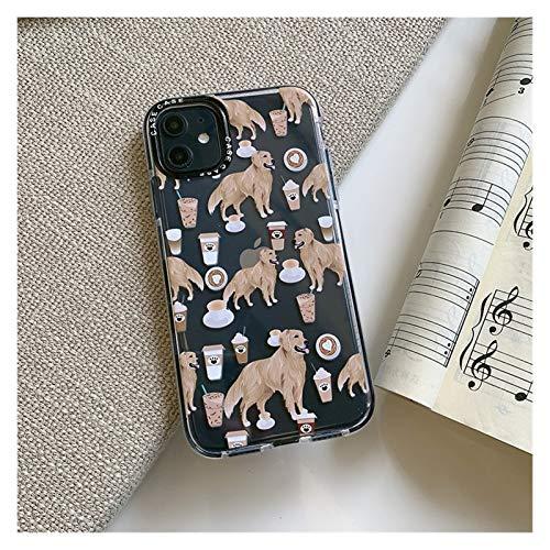 YLFC Funda De Teléfono Golden Retriever para iPhone 11 Pro MAX 7 8 Plus X XR XS MAX SE 2020, Funda Trasera De Borde Grueso Transparente Suave (Color : A, Size : For iphone11ProMax)