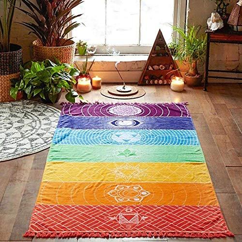 Lynther Rainbow Chakra Tapestry Towel Yoga Mat Sunscreen Shawl Tapestry Hippy Boho Gypsy