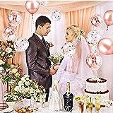 55 Stück Just Married Deko Rosegold Luftballons Set:Helium Buchstaben Folienballons Just Married Banner Girlande,Rose Gold Konfetti Latex Ballons für Bridal Shower Verlobungs Hochzeit Party Dekoration - 7