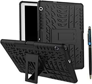 DWaybox Hybrid Rugged Heavy Duty Armor Hard Back Cover Case with Kickstand Compatible with Huawei MediaPad T3 8.0 Inch/MediaPad T3 10 9.6 Inch HUAWEI MediaPad T3 10 9.6 Inch Black DWA0729286