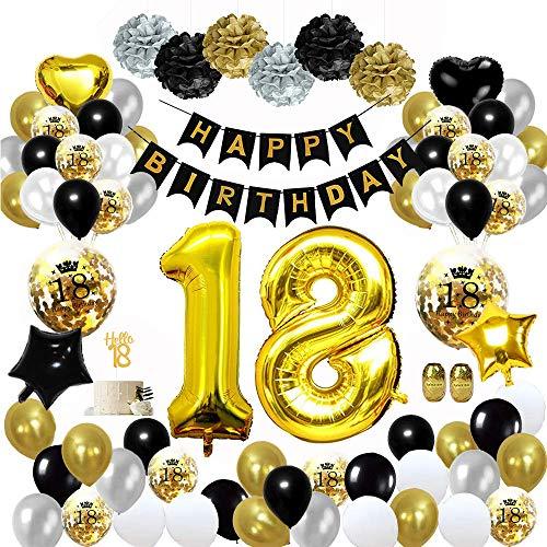 MMTX 18 Geburtstag Dekoration Schwarzes Gold, Geburtstag Party Deko mit Happy Birthday Banner Konfetti Luftballons Herz Folienballons für Mädchen JungenParty