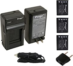 Progo 3 x EN-EL10 Li-Ion Rechargeable Batteries and Pocket Travel AC/DC Wall Charger with Car Adapter & US to European plug for Nikon EN-EL10, Coolpix S80 S200 S205 S210 S220 S230 S500 S510 S520 S570 S60 S600 S660 S700 S3000 S4000 S5100