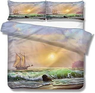 Queen Size Duvet Cover Set Marine,Sailboat Sea Sunset View for Kids/Teens/Adults Hidden Zipper Quilt Cover Printed