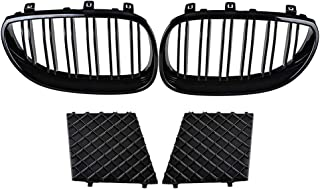 Astra Depot for 2003-2010 E60 E61 M Sport Front Left and Right Kidney Grille Dual Line + Lower Bumper Grill Covers Black