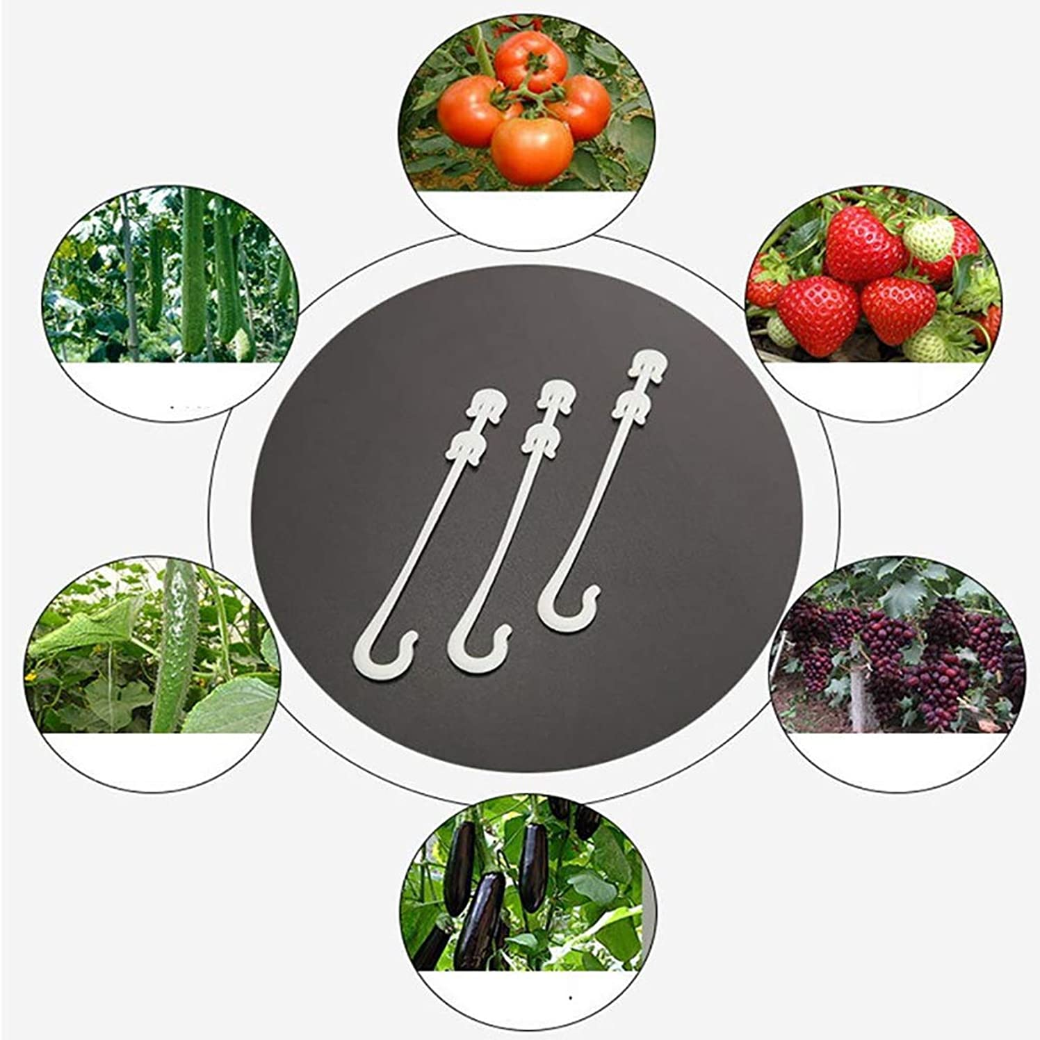 JULAN 100Pcs Flexible Fixed Strapping Clips Fastener Lashing Hook Twist Ties Plastic Tomato Tomato Hook Self-Locking Plant Vines Tied Buckles Set for Home Office Garden