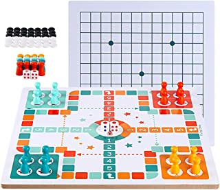 Ludo Board Game & Gobang (Five in a Row) 2 in 1 Natural Wooden Board Flying Chess Family Game for Adults and Kids
