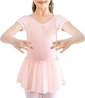 Bezioner Kinder Ballettkleidung Mädchen Ballettkleid Kurzarm Langarm Balletttrikot Ballettanzug Tanzkleid Tanzbody aus Baumwolle mit Chiffon Rock Tütü