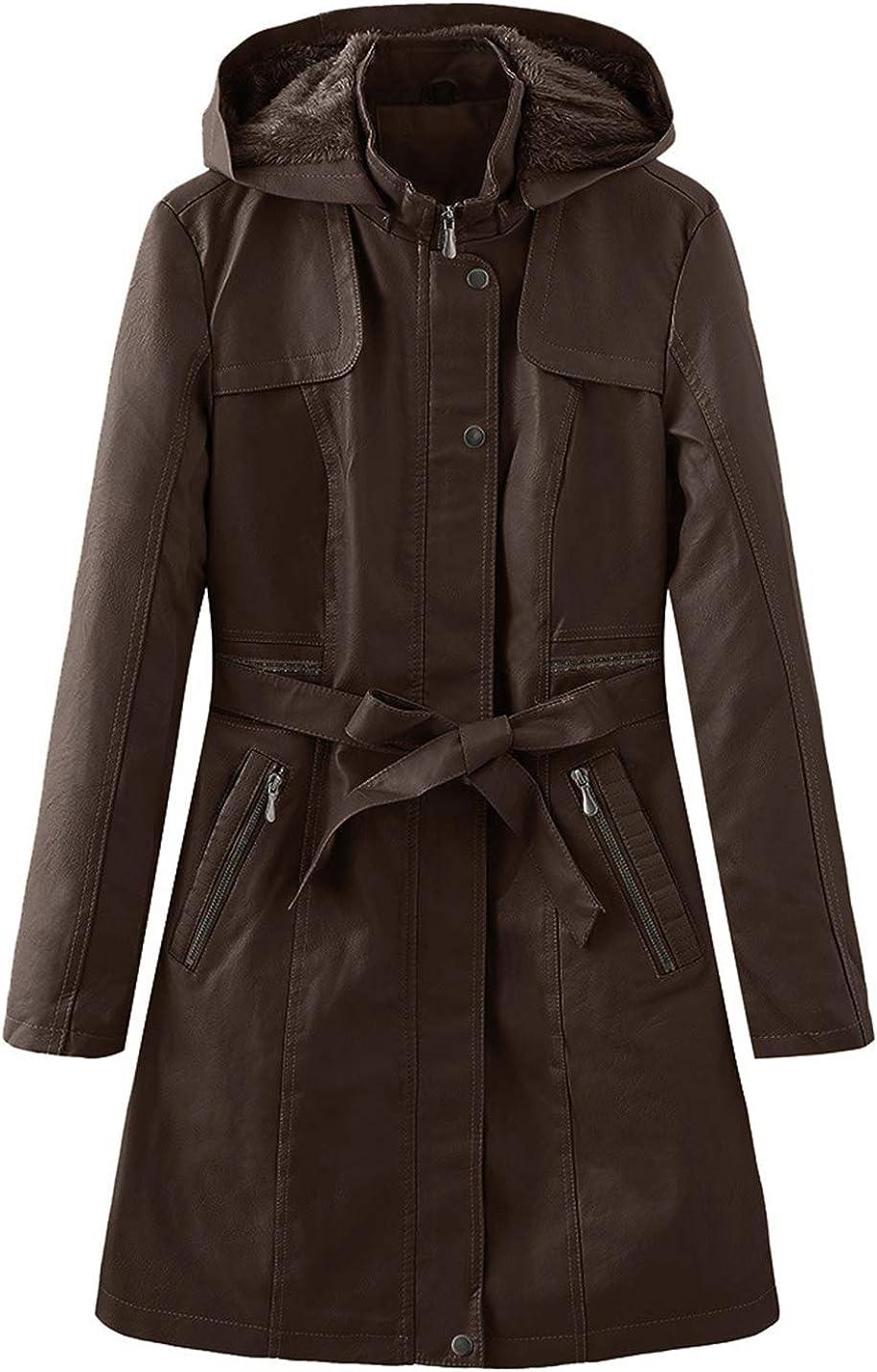 Gihuo Women's Faux Fur Removable Hood Fleece Lined Jacket Trench Coat