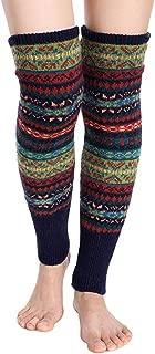 Santwo Women Knee High Socks Winter Bohemian Boot Cuffs Knit Crochet Leg Warmers