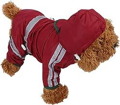 Fdit Impermeable para Perros de Mascota Chubasqueros para Medianas Perros con Capucha y Tiras Reflectoras Seguras(M)