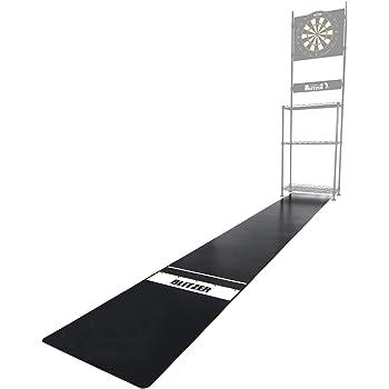 BLITZER(ブリッツァー) 【ダーツマット】ハードダーツ、ソフトダーツのスローライン表示付き スリムサイズ カット可能 床保護 裏面滑り止め加工 BOP29-BK