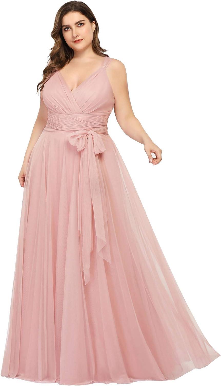 Ever-Pretty Women's Plus Size V-Neck Columbus Mall Regular dealer Bri Waist Wrap Tulle Empire