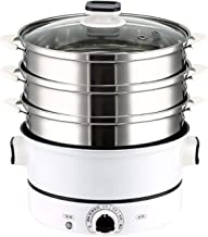 Electric Steamer 3-layer High Capacity Multi-function Steam Cooker Food Steamer Pot (Color : Black)