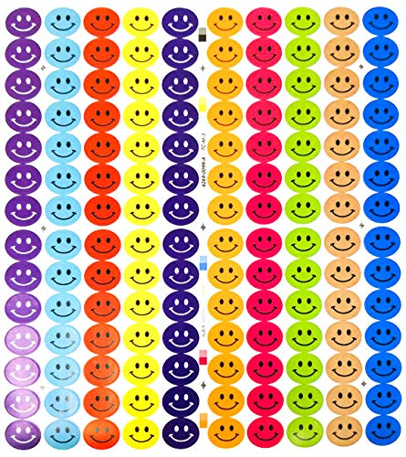 """Tag-A-Room Happy Face Smiley Face Round 3/4 Inch Circle Dot Stickers, 10 Bright Colors, 8 1/2"""" x 11"""" Sheet (1260 Pack)"""