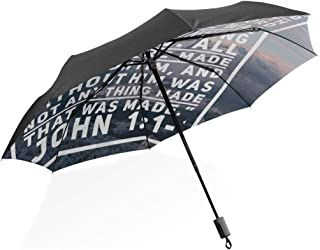 Kids Inverted Umbrella Christian Verse In The Bible Book Of John Mountain Portable Compact Folding Umbrella Anti Uv Protection Windproof Outdoor Travel Women Umbrella