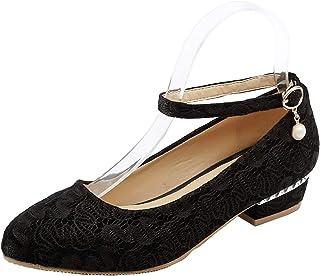 [Coolulu] レディース パンプス ストラップ レース レディース パール 靴 ローヒール レディース カジュアル パンプス おしゃれ レディース 歩きやすい靴