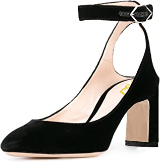 6592beb4bf0 FSJ Women Velvet Ankle Strap Pumps Retro Round Toe Chunky High Heels  Slingback Sandals Size 4