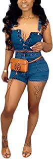 2 Piece Outfits for Women, Sexy Denim Deep V Neck Sleeveless Crop Tops Bodycon Short Jeans Pants Romper Tracksuit