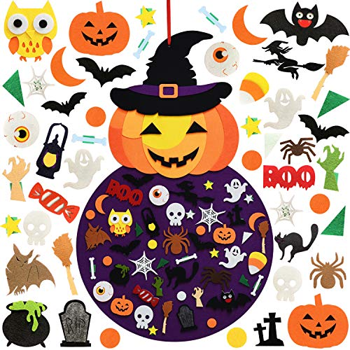 THAWAY DIY Halloween Felt Pumpkin Witch Hanging Decor for Kids Felt Crafts and Kits Adhesive Ornaments Halloween Party Favor Decorations Indoors Outdoors (2.8FT)