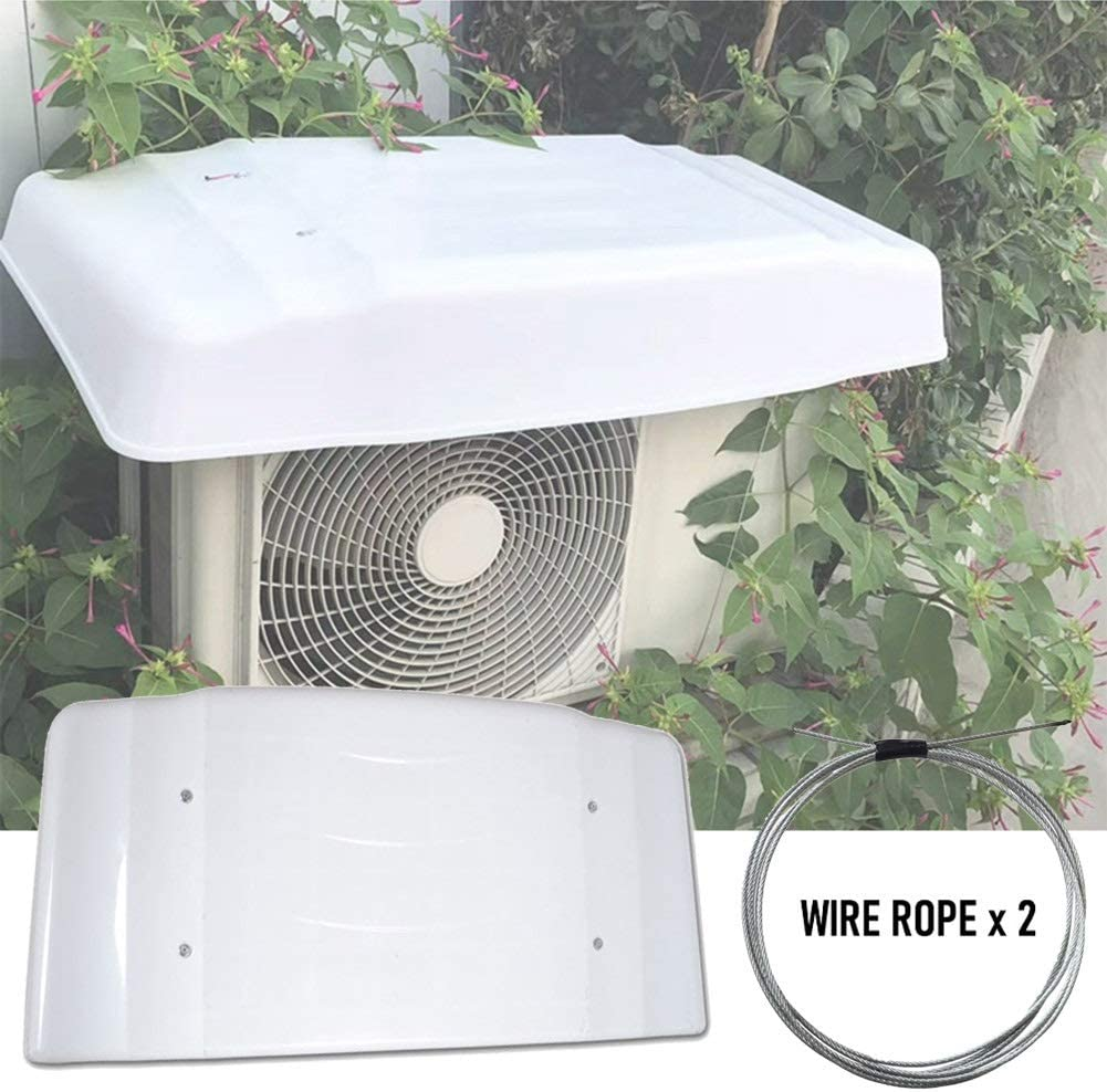 Amazon Com Lsxiao Air Conditioner Rain Cover The Outdoor Unit Ac Unit Cover Pvc Waterproof Sunscreen Dust Proof Anti Snow Wire Rope Perforation Fixing Suitable For 1 2p Color White Size 115x46x15cm Home