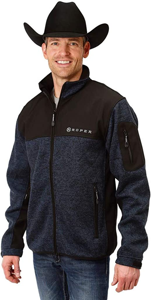 Roper 9427 Free shipping on posting reviews Blue and Black Fleece Bonded XL San Francisco Mall Sweater