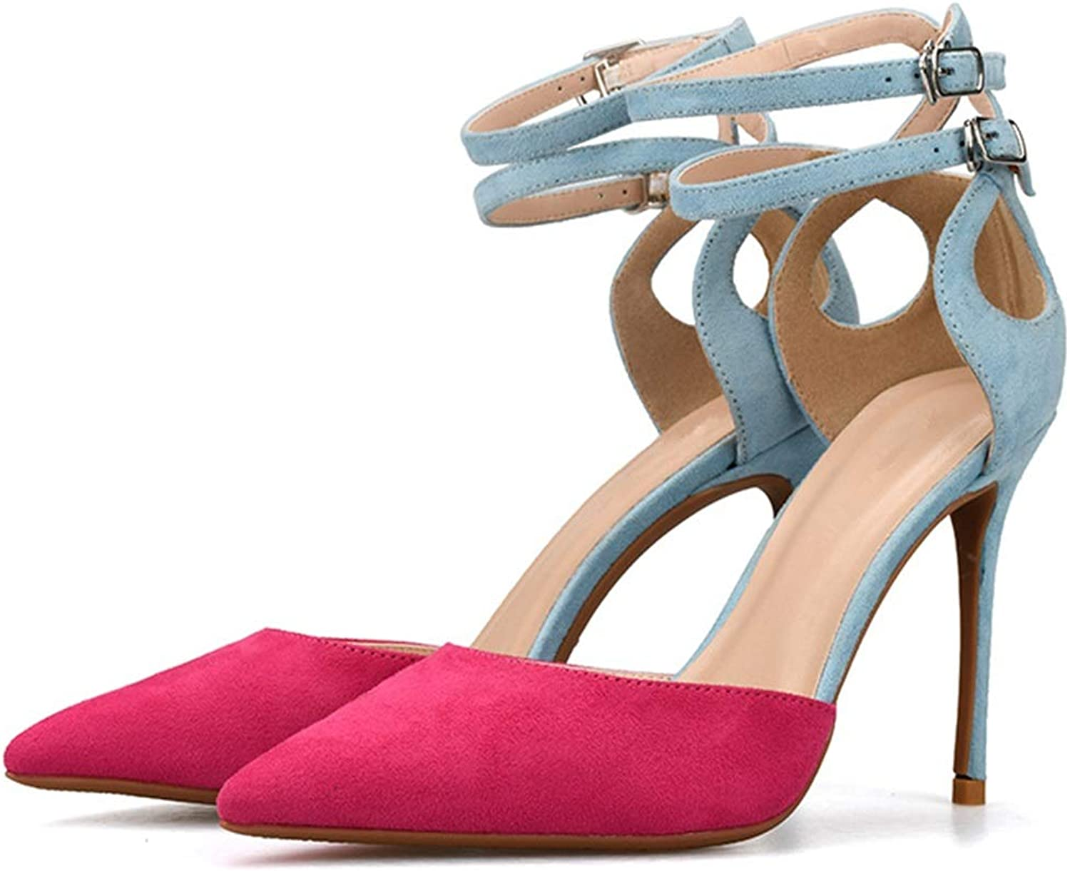 Lindarry Ankle Straps Sandals for Women Stiletto High Heeled Pumps Pointed Sides Cut Two Tones Style Fashion (color   pink, Size   5.5 M US)