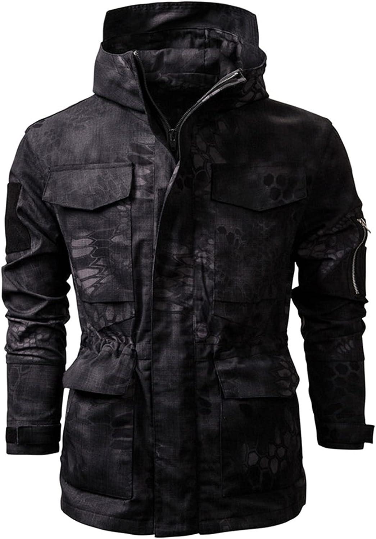 Men's Waterproof Camouflage Outdoor Jacket,Lightweight Waterproof Hooded Rain,for Outdoor Camping and Leisure