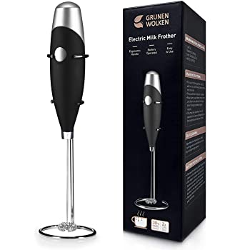GRUNEN WOLKEN Milk Frother Handheld Get Froth in 7 Seconds High Powered Low Noise with Support Stand and Coffee Stencils Electric Milk Coffee drink Mixer Perfect for Coffee Cappuccino Matcha Hot Chocolate