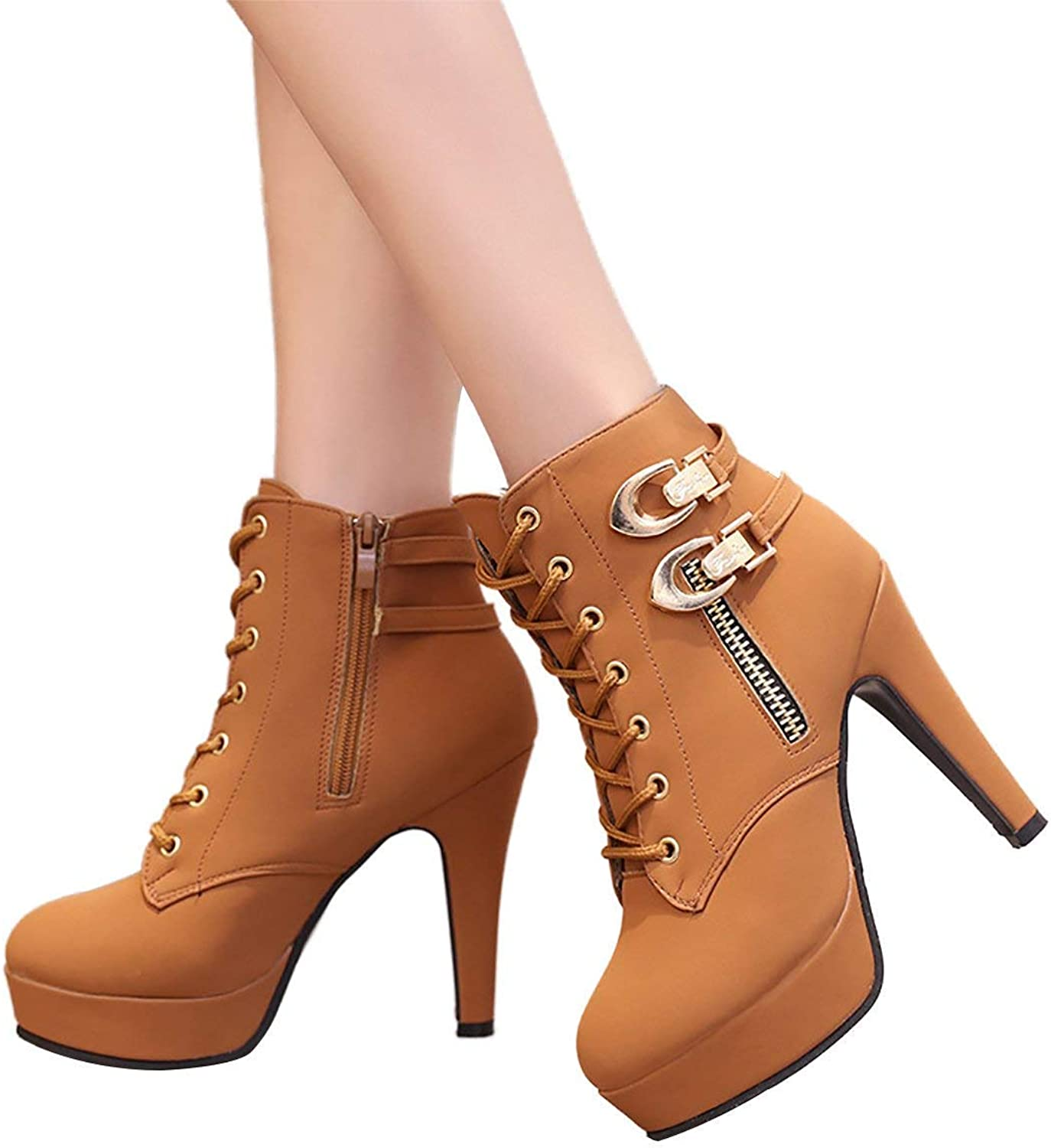 A-LING Women Ankle Booties Sexy Round Toe Lace up Buckle Stiletto Heel Platform Boots (-)