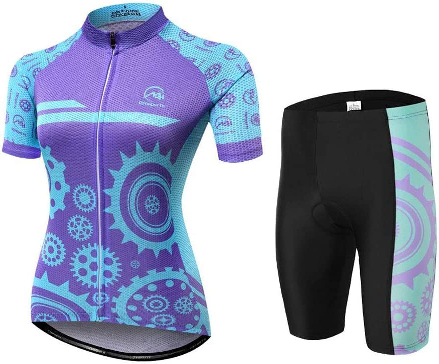 Womens Cycling Jersey Sets Sports Breathable Padded Cycling Clothing Cycling Wear Summer