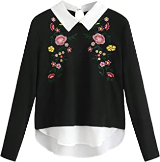Women's Floral Embroidered Long Sleeve Curved Hem 2 in 1 Pullover Sweatshirt Shirt