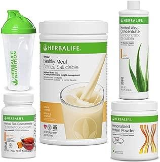 Herbalife Quick Combo - Formula 1 Shake Mix (Banana Caramel), Personalized Protein, Herbal Aloe (Mango), Herbal Tea Concentrate (Peach)